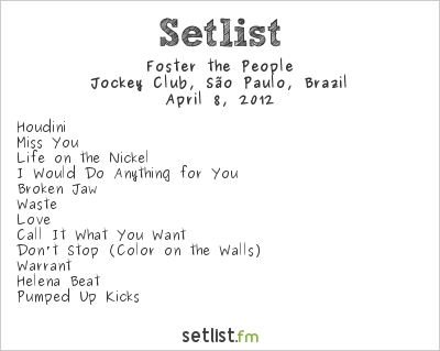 Foster the People Setlist Lollapalooza Brazil 2012 2012