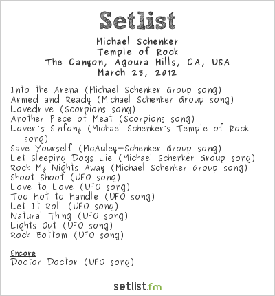 Michael Schenker Group Setlist The Canyon Club, Agoura Hills, CA, USA 2012, Temple of Rock