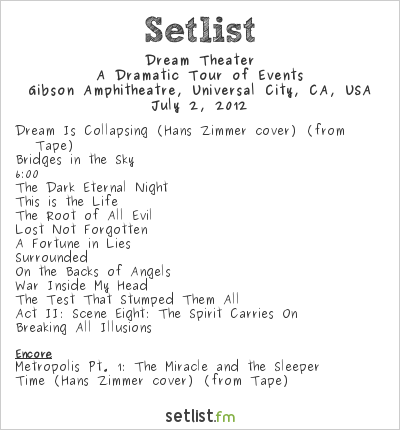 Dream Theater Setlist Gibson Amphitheatre, Universal City, CA, USA 2012, A Dramatic Tour of Events