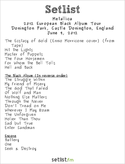 Metallica Setlist Download 2012 2012, 2012 European Black Album Tour