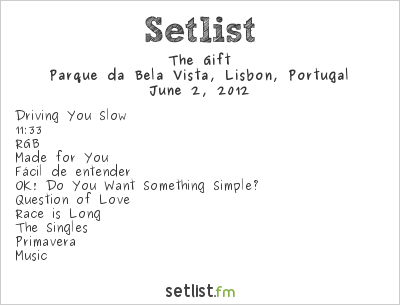 The Gift Setlist Rock In Rio Lisboa 2012 2012