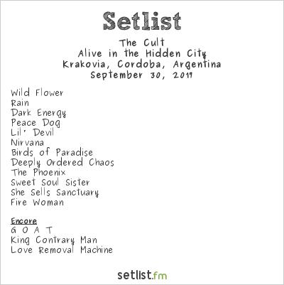 The Cult Setlist Krakovia, Córdoba, Argentina 2017