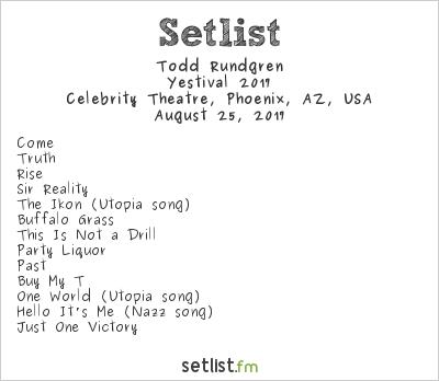 Todd Rundgren Setlist Celebrity Theatre, Phoenix, AZ, USA, Yestival 2017