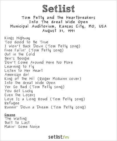 Tom Petty and the Heartbreakers at Municipal Auditorium, Kansas City, MO, USA Setlist