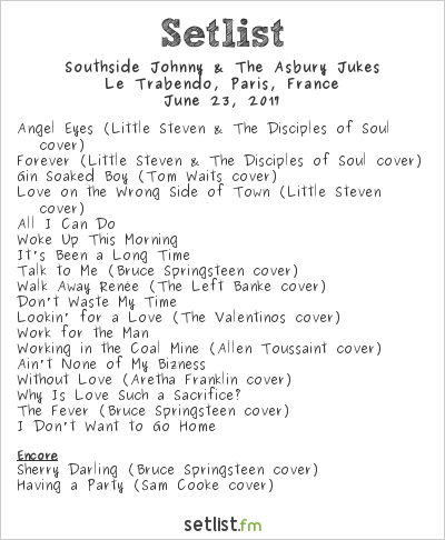 Southside Johnny & The Asbury Jukes Setlist Le Trabendo, Paris, France 2017
