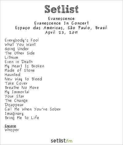 Evanescence Setlist Espaço das Américas, São Paulo, Brazil, Evanescence In Concert 2017