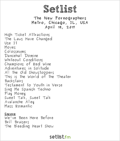 The New Pornographers Setlist The Metro, Chicago, IL, USA 2017