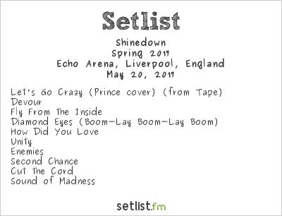 Shinedown Setlist Echo Arena, Liverpool, England, Spring 2017