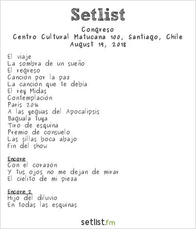 Congreso Setlist Centro Cultural Matucana 100, Santiago, Chile 2018