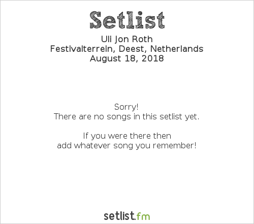 Uli Jon Roth Setlist Festival 't Zeeltje 2018 2018