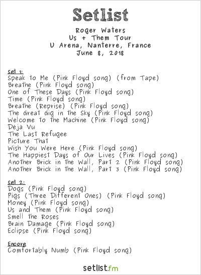 Roger Waters Setlist U Arena, Nanterre, France 2018, Us + Them Tour