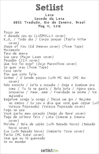 Lexa Setlist GRES Tradição, Rio de Janeiro, Brazil 2018
