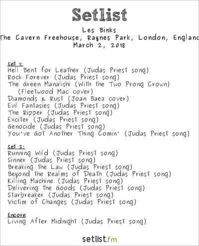 Les Binks Setlist The Cavern Freehouse, Raynes Park, London, England 2018