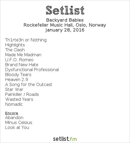 Backyard Babies Setlist Rockefeller Music Hall, Oslo, Norway 2016