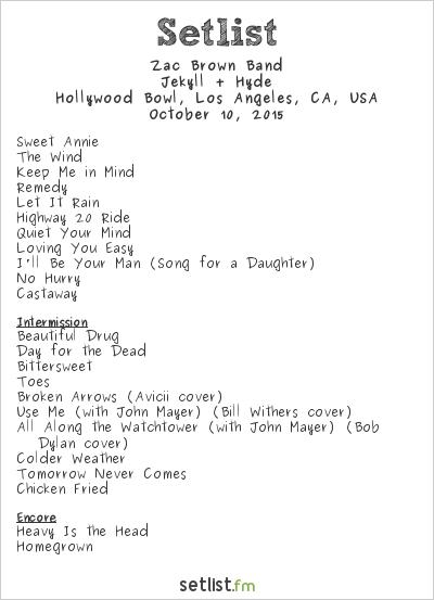 Zac Brown Band Setlist  Tour