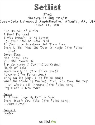 Sting at Coca-Cola Lakewood Amphitheatre, Atlanta, GA, USA Setlist