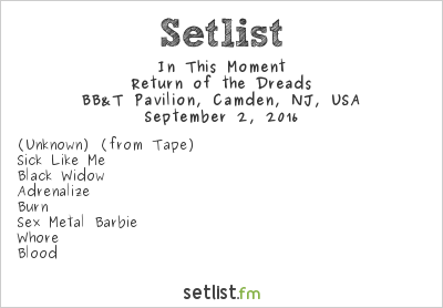 In This Moment Setlist BB&T Pavilion, Camden, NJ, USA, The Hellpop Tour 2016