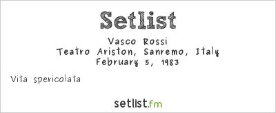 Vasco Rossi Setlist Festival della Canzone Italiana di Sanremo 1983 1983