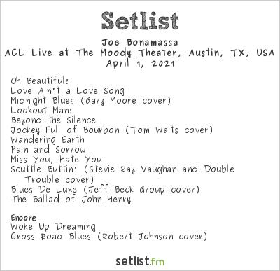 Joe Bonamassa Setlist ACL Live at The Moody Theater, Austin, TX, USA 2021
