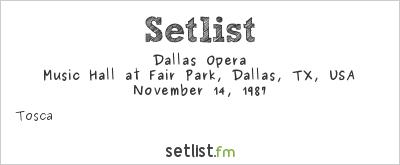 Dallas Opera at Music Hall at Fair Park, Dallas, TX, USA Setlist