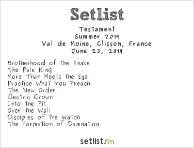 Testament Setlist Hellfest 2019, Summer 2019