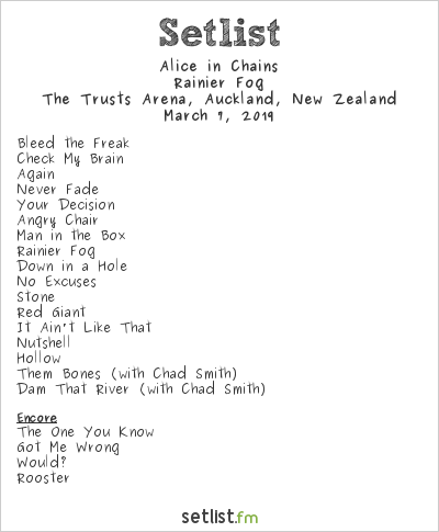 Alice in Chains Setlist The Trusts Arena, Auckland, New Zealand 2019