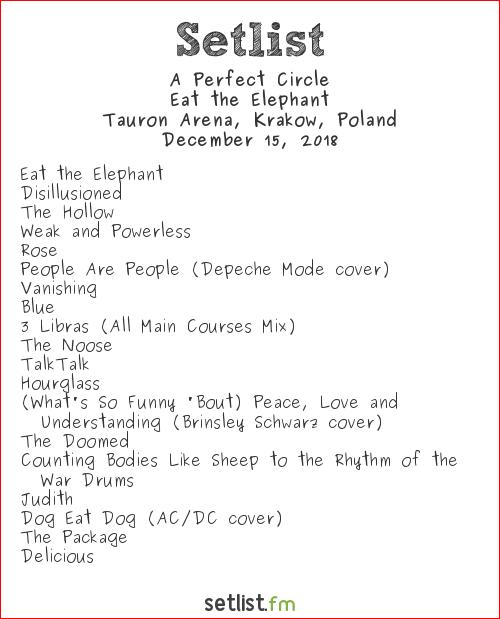 A Perfect Circle Setlist Tauron Arena, Kraków, Poland 2018, Eat the Elephant