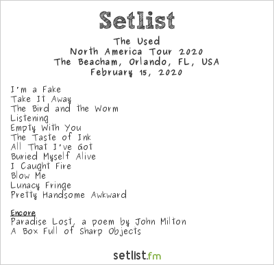 The Used Setlist The Beacham, Orlando, FL, USA, North America Tour 2020