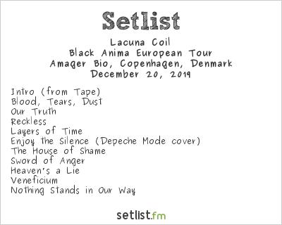 Lacuna Coil Setlist Amager Bio, Copenhagen, Denmark 2019, Black Anima European Tour