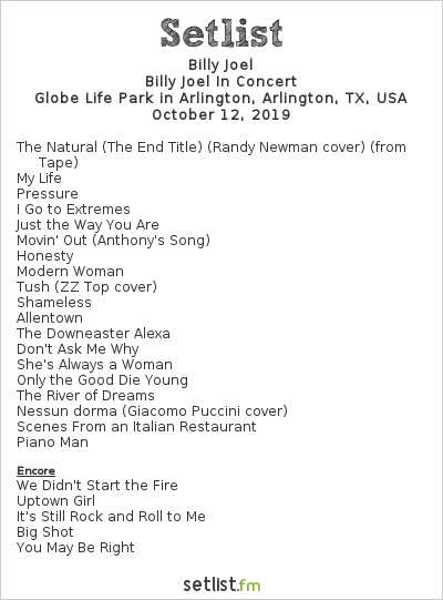 Billy Joel Setlist Globe Life Park in Arlington, Arlington, TX, USA 2019, Billy Joel In Concert