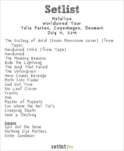 Metallica Setlist Telia Parken, Copenhagen, Denmark 2019, Worldwired Tour