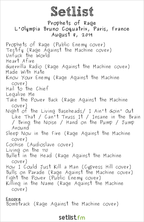 Prophets of Rage Setlist L'Olympia Bruno Coquatrix, Paris, France 2019