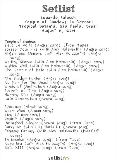 Eduardo Falaschi Setlist Tropical Butantã, São Paulo, Brazil 2019, Temple of Shadows In Concert