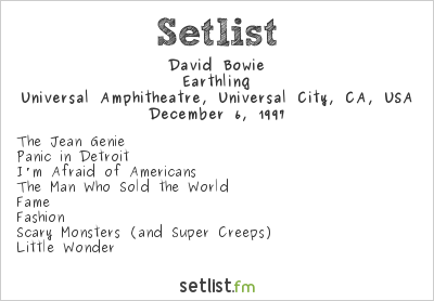 David Bowie Setlist KROQ Almost Acoustic Christmas 1997 1997, Earthling Tour
