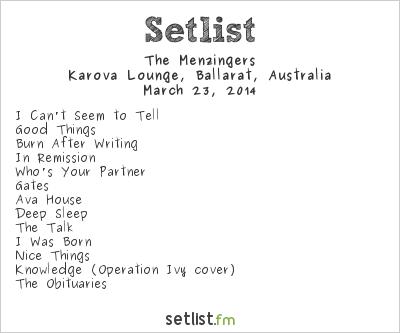 The Menzingers Setlist Karova Lounge, Ballarat, Australia 2014