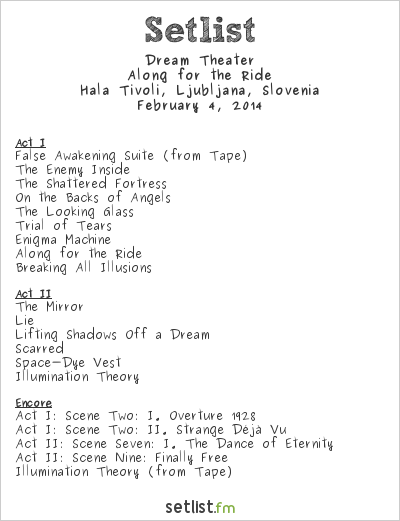 Dream Theater Setlist Tivoli 1, Ljubljana, Slovenia 2014, Along for the Ride
