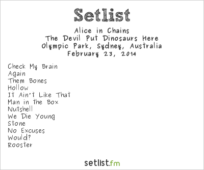 Alice in Chains Setlist Soundwave Sydney 2014 2014, The Devil Put Dinosaurs Here
