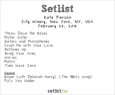 Kate Pierson Setlist City Winery, New York, NY, USA 2015