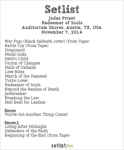 Judas Priest Setlist FunFunFun Festival 2014 2014, Redeemer of Souls