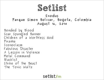 Exodus Setlist Rock al Parque 2014 2014