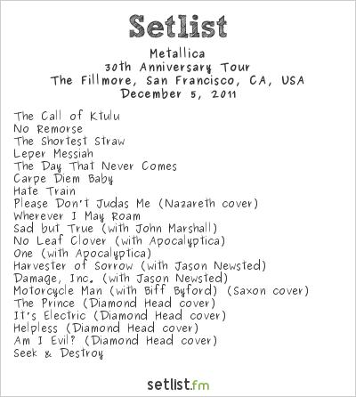 Metallica Setlist The Fillmore, San Francisco, CA, USA 2011, 30th Anniversary Tour