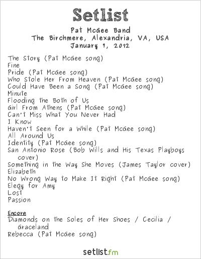 Pat McGee Band Setlist The Birchmere, Alexandria, VA, USA 2012