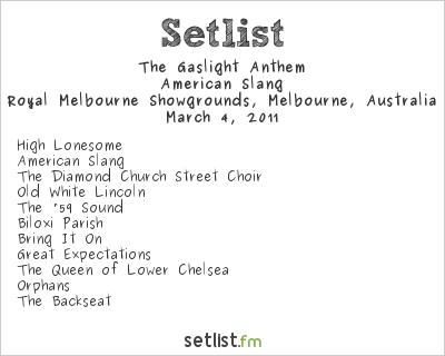 The Gaslight Anthem Setlist Soundwave Melbourne 2011 2011, American Slang Tour