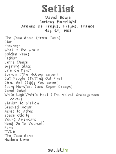 David Bowie Setlist Arènes de Frejus, Fréjus, France 1983, Serious Moonlight Tour