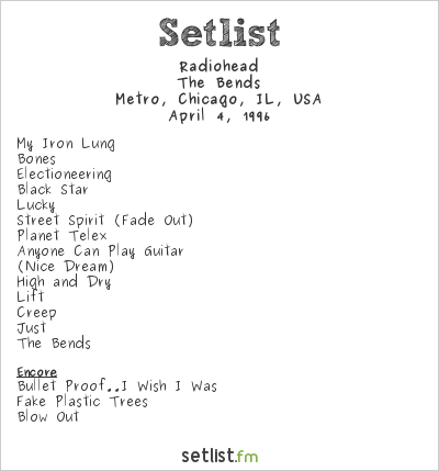 Radiohead Setlist Cabaret Metro, Chicago, IL, USA 1996, The Bends