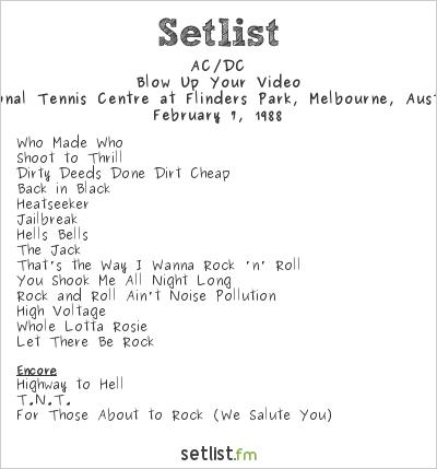 AC/DC Setlist National Tennis Centre at Flinders Park, Melbourne, Australia 1988, Blow Up Your Video