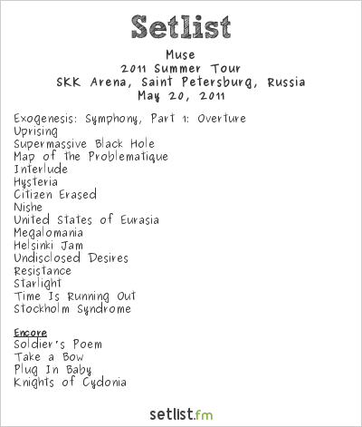 Muse Setlist SKK Arena, Saint-Petersburg, Russia, Summer Tour 2011