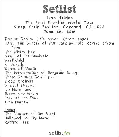 Iron Maiden Setlist Sleep Train Pavilion, Concord, CA, USA 2010, The Final Frontier