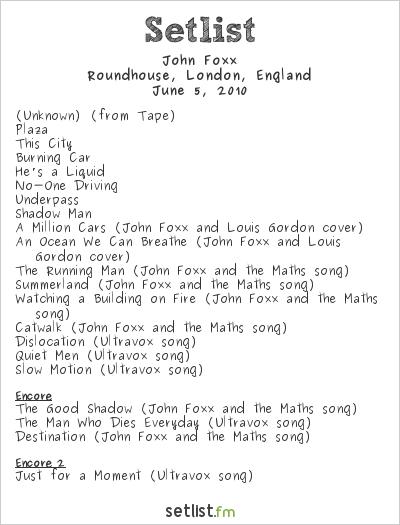 John Foxx Setlist Roundhouse, London, England 2010