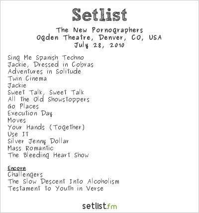 The New Pornographers Setlist Ogden Theater, Denver, CO, USA 2010